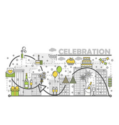celebration concept flat line art vector image