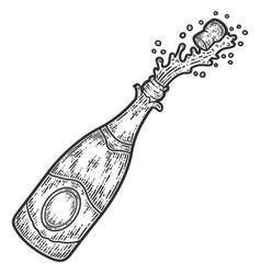 Champagne bottle open sketch scratch board vector
