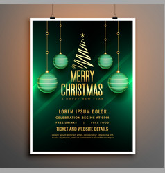 christmas green flyer poster template with ball vector image