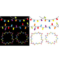 Christmas lights big set round and square empty vector