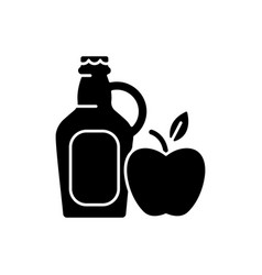 Cider to go black glyph icon vector