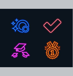 Clean dishes throw hats and tick icons approved vector