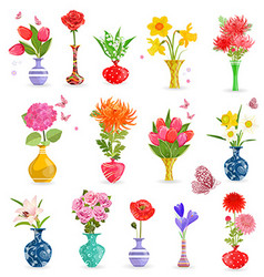 colorful collection art vases with bouquet of vector image