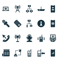 communication icons set with communication console vector image