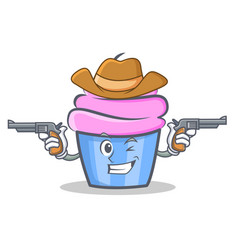 Cowboy cupcake character cartoon style vector