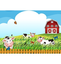 Cows at the farm vector