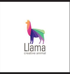 Creative abstract colorful llama logo icon design vector