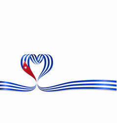 Cuban flag heart-shaped ribbon vector