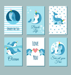 cute cartoon anime narwhal romance cards posters vector image