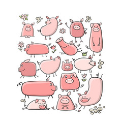 Cute pigs collection for your design vector