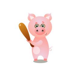 cute pink pig playing baseball with wood bat vector image