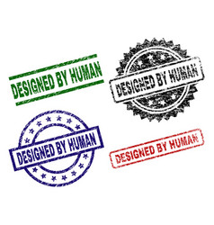 damaged textured designed by human stamp seals vector image