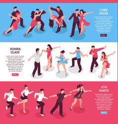 Dance horizontal isometric banners vector