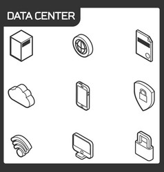 data center outline isometric icons vector image