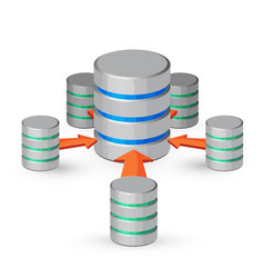 database organized collection of data depicted as vector image