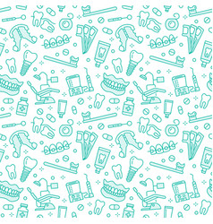 Dentist orthodontics seamless pattern with line vector