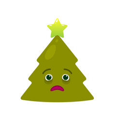 Diseased christmas tree isolated emoticon vector