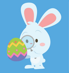 Easter bunny with magnifying collection vector