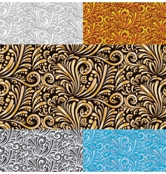 Five Floral Seamless Pattern Background vector
