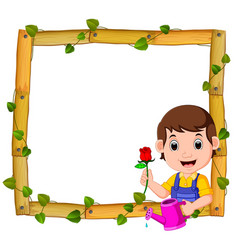 gardener on the wood frame with roots and leaf vector image
