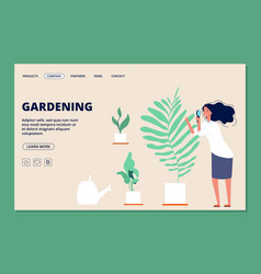 gardening landing page woman and plants vector image