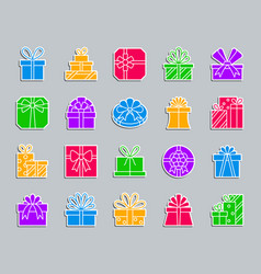 gift patch sticker icons set vector image