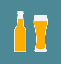 glass of beer and bottle flat icon vector image