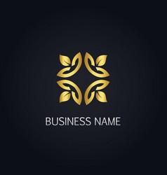 gold leaf ornament logo vector image