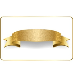 Gold ribbon foil white Golden blank banner vector
