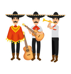 Group of mexican mariachi characters vector