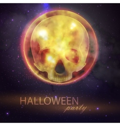 Halloween with full moon and skull on the night vector image