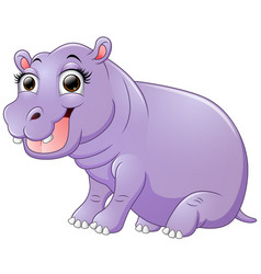 happy hippo cartoon sitting vector image