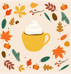 hello autumn cup coffeelatte autumn leafs on vector image