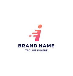 I letter dash tech fast quick logo icon vector