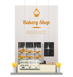 interior background with modern bakery shop vector image