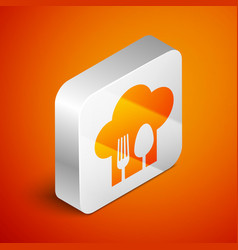 Isometric chef hat with fork and spoon icon vector