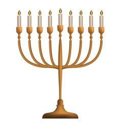 Jewish menorah icon realistic style vector
