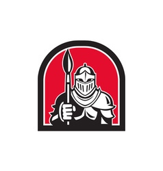 Knight full armor holding paint brush half circle vector
