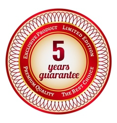 Label on 5 year guarantee vector image