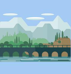 landscape the picturesque bridge on the vector image