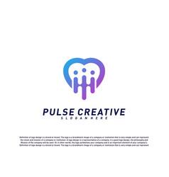 love medical pulse logo design concepthealthcare vector image
