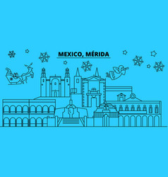 mexico merida winter holidays skyline merry vector image