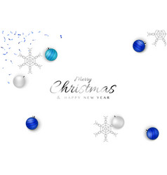 minimal christmas background design with blue ball vector image