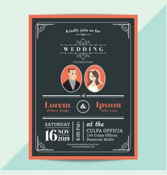 modern vintage wedding invitation card with vector image