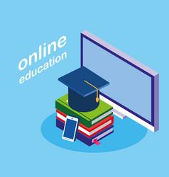 Online education with desktop vector
