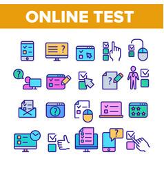 Online test collection elements icons color set vector