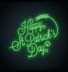 patrick day neon lettering happy patricks day vector image