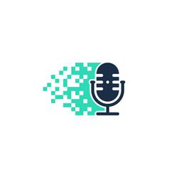 Pixel podcast logo icon design vector