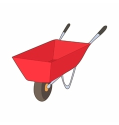Red wheelbarrow icon cartoon style vector