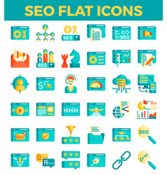 Seo search engine optimization flat icons vector